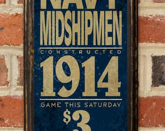 US Navy Midshipmen Army Navy Game Wall Art Sign Plaque Gift Present Home Decor Vintage Style USNA Sailor Naval Academy Football Antique
