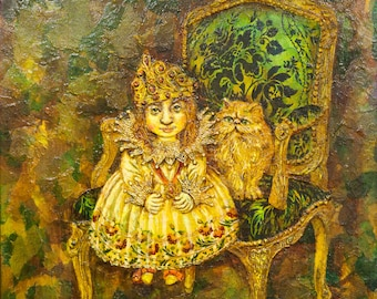 Oil on Canvas Original Signed Unique Art Painting by Ina Belous Little Princess