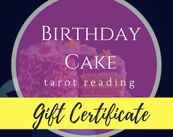 Birthday Reading Gift Certificate | Tarot Reading Gift Certificate | Tarot Gift | Intuitive Reading | Spiritual Guidance | Psychic Insight