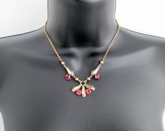 Stunning Vintage Signed 1/20 10K AMCO GF Yellow Gold Filled Claw Set Bright Shocking Pink Sapphire Tourmaline Rhinestones Necklace Pressed