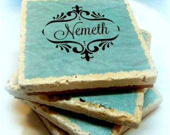 Drink Coasters, Personalized, Name, Stone Coasters, Personalized Drink Coasters, Custom, Gift, Decor, Bar, Entertainment