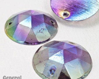 23mm Light Amethyst AB Faceted Sew-on Cabochon (8 Pcs) #3725