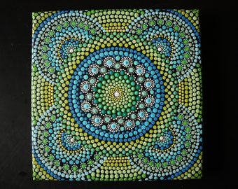"Hand painted blue, yellow and green mandala on canvas 8"" x 8"" dot pointillism art"