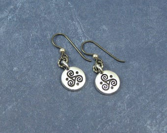 Silver Triple Spiral Earrings on Hypoallergenic Ear Wires, Celtic Triskele Charms, Celtic Spiral Jewelry, Silver Celtic Triskele Earrings