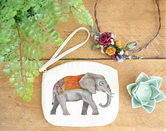 Elephant Canvas Zip Bag, Makeup Bag, Coin Purse, Small Accessory Pouch, Stocking Filler, Elephant Gift