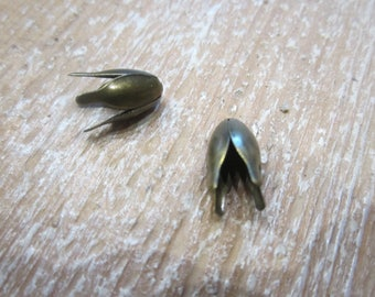 set of 10 bead caps, bronze, DESTASH Tulip bead caps