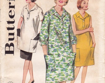 RARE FF Butterick 3190 Maternity Dress Pattern - Button Tab Front, Patch Pockets 1960s Vintage Sewing Pattern, Size 14, Bust 34, UNCUT