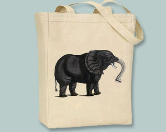 Primitive Vintage Elephant Bookplate Color Illustration Tote  -- Selection of sizes available