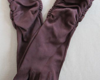 Vintage 1960s Gloves DARK BROWN Over the Wrist Length Gloves Size S Shirred Cuffs Special Occasion Easter Wedding Bridal Costume Prom