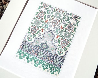 Green, Cream, Slate Blue & Red Antique Moorish Tile Pattern Archival Quality Print