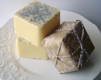 Soap - Lemon Poppy Cake Bar - Goat's Milk Soap - Featured on HGTV 15 Handmade Gift Ideas - Perfect for Christmas - For Her