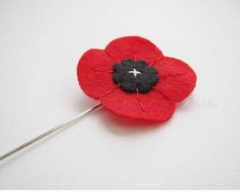 Red Poppy Lapel Pin - Men's Boutonniere - Wool Felt Lapel Flower