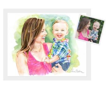 Mommy son Custom Family Portrait,  Custom family drawing, Custom portrait, custom family portrait illustrations, custom family illustration,