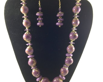 Gold leaf and lavender necklace/earrings set