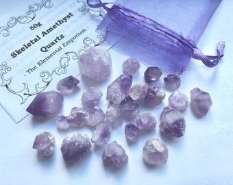 Amethyst Elestial/Skeletal Quartz Points - 50g - Crystal Healing - Crystal Grids Set