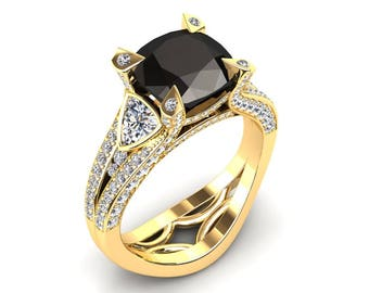 Black Diamond Ring 3.00 Carat Cushion Cut Black Diamond Engagement Ring In 14k or 18k Yellow Gold. Style Number W31BKY