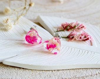 Cherry Blossom Earrings, Pink Stud Earrings, Sakura Blossoms, Spring blossoms, Gift for Her, Nature Jewellery, Real Flower Earrings