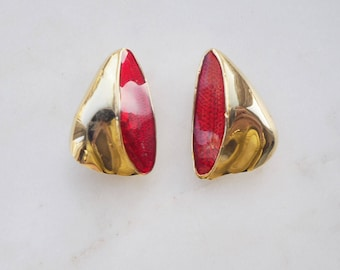 Vintage red and gold tone clip on earrings