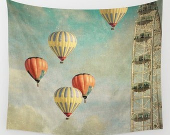 wall tapestry, hot air balloons tapestry, large size wall art, balloons, whimsical, hot air balloons, red yellow blue