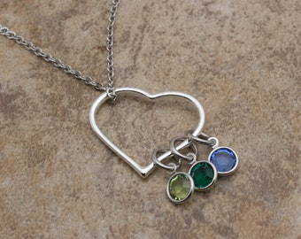 Birthstone Heart Necklace   Customizable Mother's Necklace   Mom Necklace   Mother's Day Gift   Necklace With Kids Birthstones