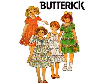 Butterick 6089 Toddler Girls Tiered Peasant Dress 80s Vintage Sewing Pattern Size 3 or 6