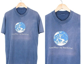 Vintage Save The Planet T-shirt - 80s Good Planets Are Hard To Find T-shirt - 1980s Harrell Graham Environmental Faded Blue T-shirt