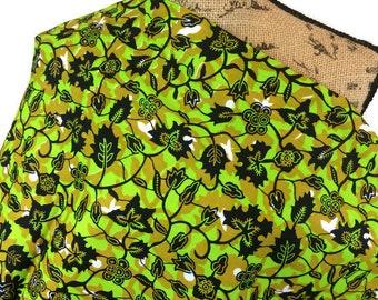 African Wax Print Fabric--Ankara Print Fabric--Ethnic Fabric--Bright Green/Olive Green Vines & Flowers--African Fabric by the HALF YARD