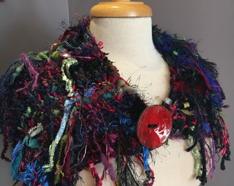 """Hand Knit art yarn plush blend shoulder wrap, capulet, cowl with oversized button,  """"Lifeline"""", vibrant color, artwear, handmade, fringe"""
