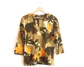 3/4 sleeve Vintage Jungle Flower Shirt