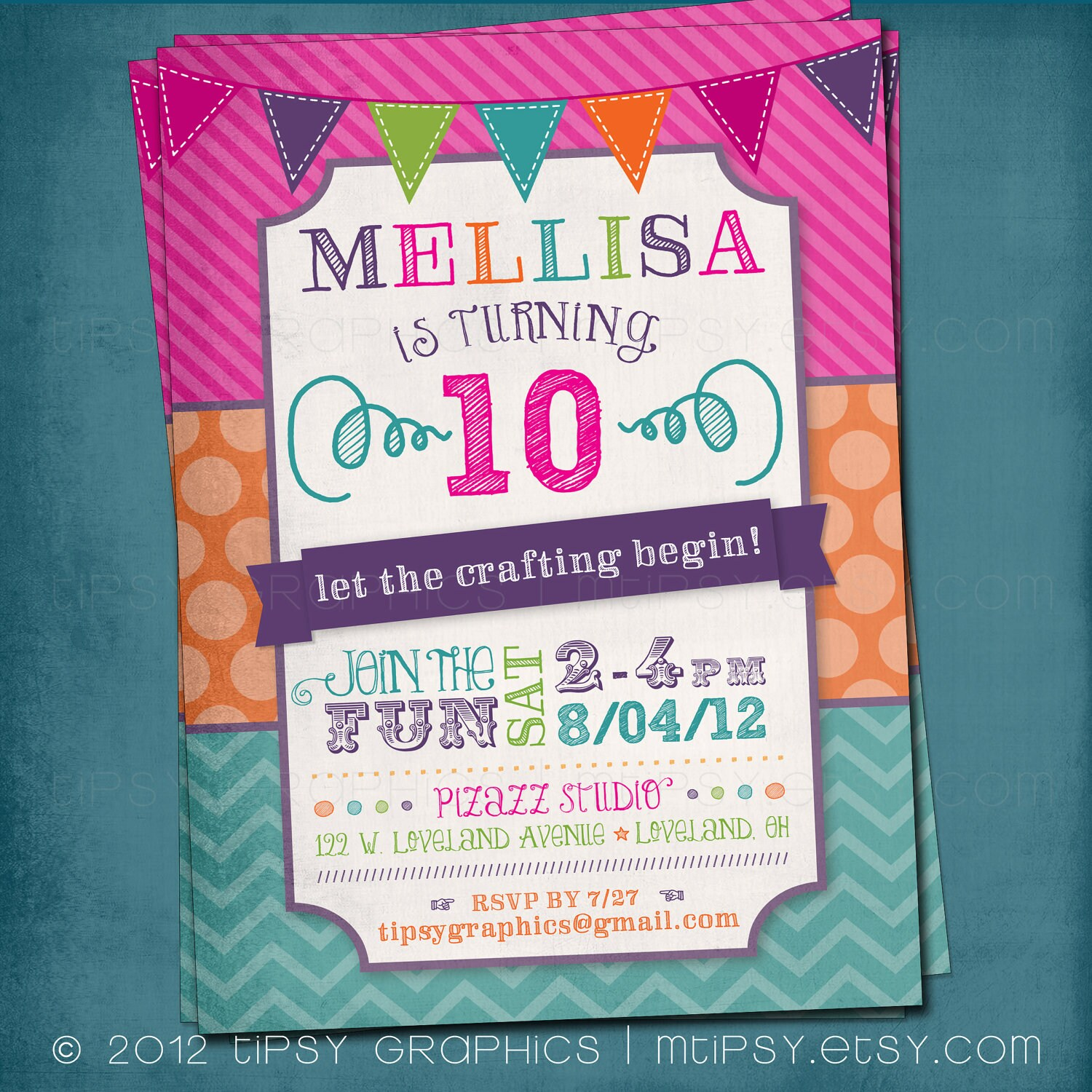 Fun colorful craft art birthday party or shower invite by zoom stopboris Gallery