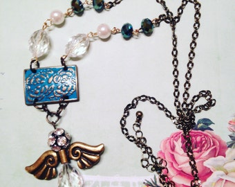 Angel Pendant Necklace with Czech Glass Beads