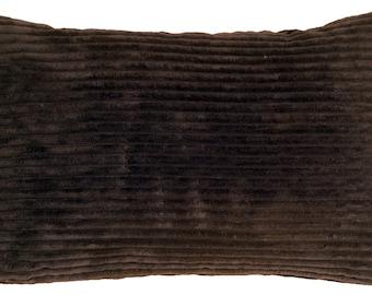 Wide Wale Corduroy 12x20 Dark Brown Throw Pillow