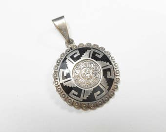 Taxco Pendant, Mayan Pendant, Sterling Pendant, Taxco TC-271 925 Sterling Silver Black Enamel Mayan Aztec Pendant Mexico #2573
