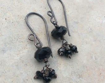 Black ONYX Earrings, Black gemstone earrings, sterling silver earrings, handmade earrings, artisan jewelry by Angry Hair Jewelry, cluster