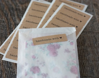 "Handmade with Love Labels.  1.75"" x 0.5"" Kraft Stickers. Set of 36."