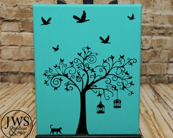 Tree silhouette canvas 8 x 10 panel