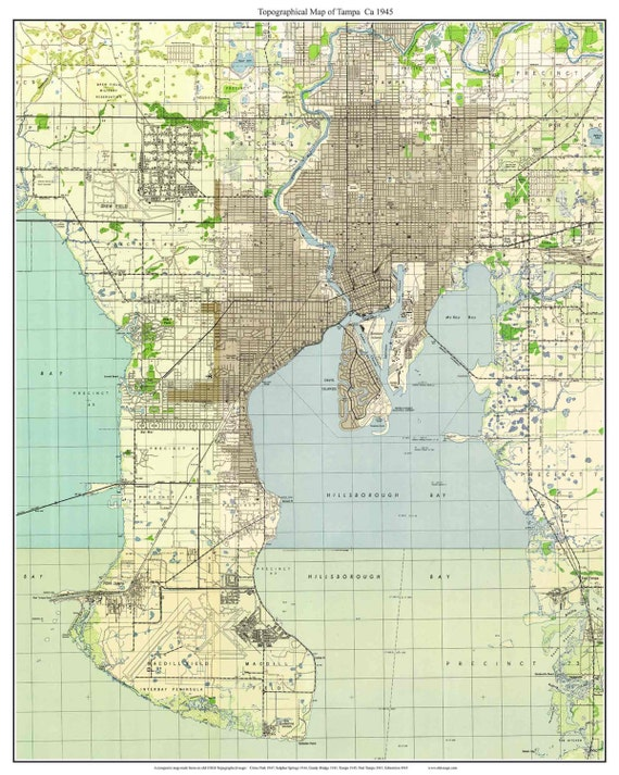 Tampa Florida 1945 Old Topo Map A Composite made from 6 USGS