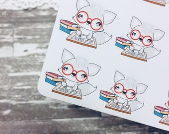 Study Fox Sticker | Character Sticker | Foxy Fox Series | K097