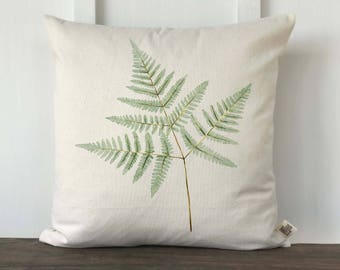 Farmhouse Spring Fern Watercolor Pillow Cover, Mother's Day Gift, Wedding Gift, Anniversary Gift, Decorative Couch Pillow