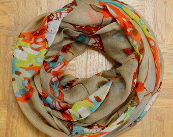 Khaki Butterfly Light Weight X-large Infinity Scarf Loop Cowl