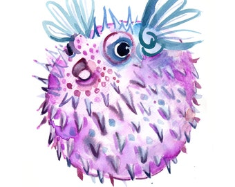Childrens Art - Size8x10in  - Watercolor Painting - Animal Art Print -  Pufferfish