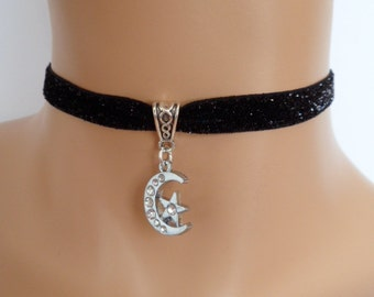 moon star choker, black velvet choker, moon necklace, star necklace, elasticated ribbon, glitter ribbon