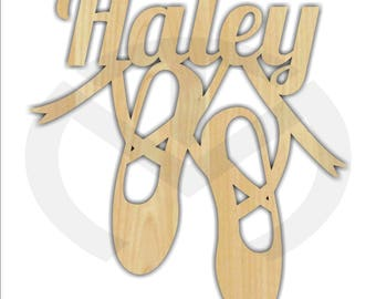 Custom Wooden Ballet Shoes with Name, Various Sizes, Unfinished, Girl's Room Decor, Dance, Laser Cut