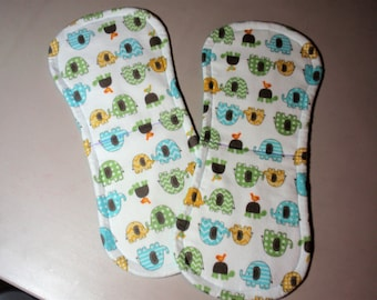 Very Cute Elephant and Turtle Burp Clothes - Set of two