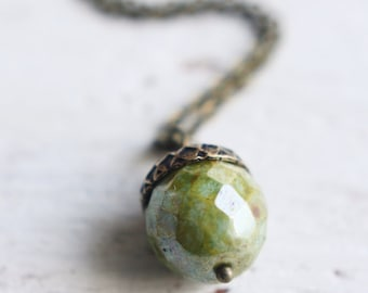Handmade Acorn and Antiqued Brass Necklace - Toasted Acorn