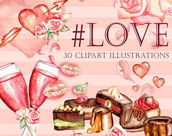 love clipart, valentine clipart, valentine illustrations, valentine drawings, watercolor valentine, watercolor heart, chocolate clipart
