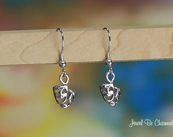 Sterling Silver Drama Theater Masks Earrings Fishhook Solid .925