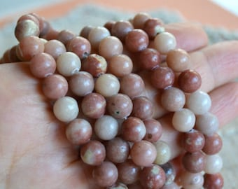 50pcs 8mm Pink Lepidolite Natural Gemstone Beads Round 16 Inches Strand