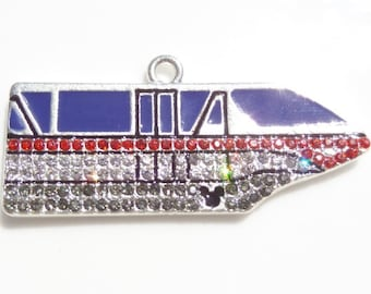 SALE! 50mm Monorail Inspired Enamel and rhinestone pendant for chunky necklace, P56