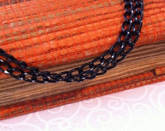 Black chain with silver highlights, lightweight, aluminum horse mesh sold by the yard